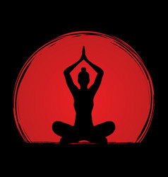 Yoga sitting pose graphic vector