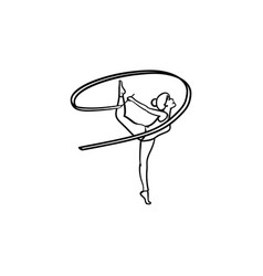 young gymnast woman with ribbon hand drawn outline vector image