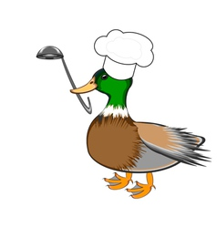 A funny duck with a chef hat and a soup ladle vector image