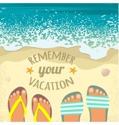 Background with sea sand beach feet in sandals vector image vector image