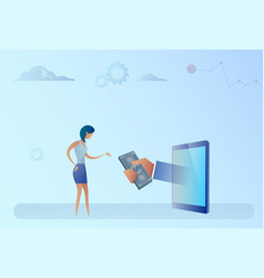 Business woman getting money from digital tablet vector