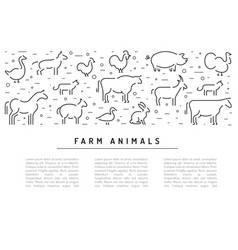 farm animals silhouettes outline vector image