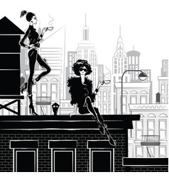 fashion girl in style sketch in new york vector image vector image
