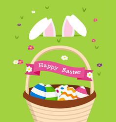 happy easter card of bunny and holiday eggs vector image