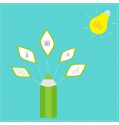 Pencil with business icons and light bulb sun idea vector