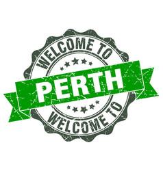 Perth round ribbon seal vector