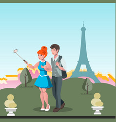 young couple taking selfie in paris vector image