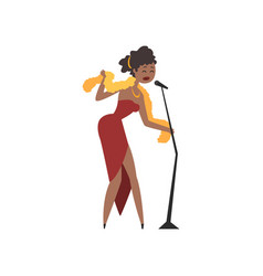 african american female soul singer in red dress vector image