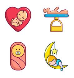 baby icon set cartoon style vector image