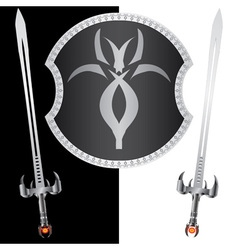 fantasy shield and swordssecond variant vector image