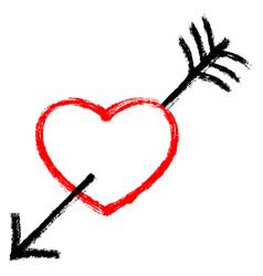 red heart pierced black arrow vector image