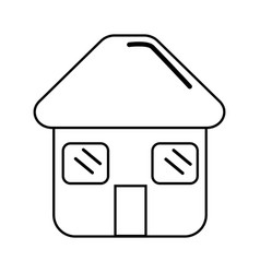 silhouette house with door roof and windows icon vector image
