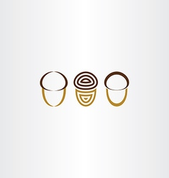 stylized acorn icon set vector image vector image