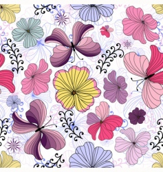 white seamless floral pattern vector image vector image