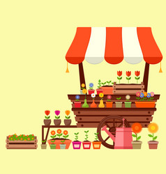 flower stand with spring garden flowers vector image