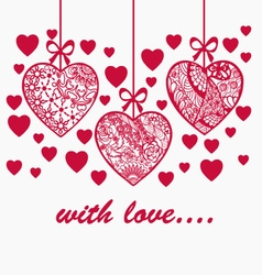 Romantic valentine day hand drawn background with vector