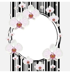 Round frame with orchids vector image vector image