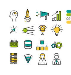 set linear seo colored icons vector image