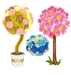 Two unusual tree and bouquet of blue roses vector image