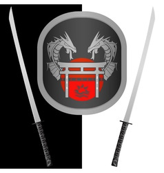 fantasy shield and swordsseventh variant vector image vector image
