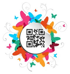 Happy butterfly spring time with qr code label vector image vector image