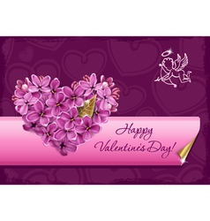 heart from flowers of a lilac vector image vector image