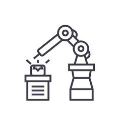 industrial automation line icon sign vector image