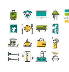 Set linear hotel service colored icons vector