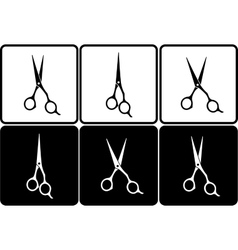 set of isolated black and white scissors vector image vector image