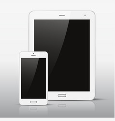 white mobile phone and tablet pc template vector image