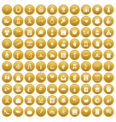 100 calendar icons set gold vector