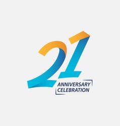 21 year anniversary celebration template design vector image