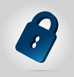 3d image - blue closed padlock icon with shadow vector
