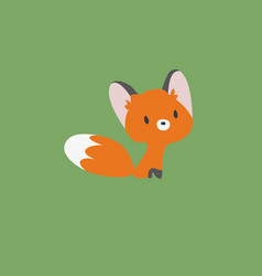 a little fox on a green bac vector image