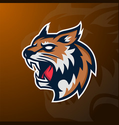 angry wildcat mascot sport logo badge and emblem vector image