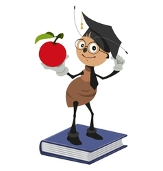 Ant teacher standing on books and holding red vector