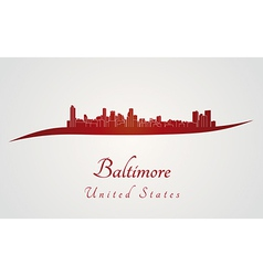 Baltimore skyline in red vector