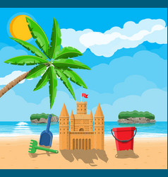Beach with sand castle vector