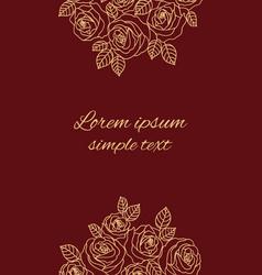 Beige outline roses on maroon greeting card vector