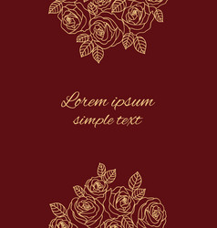 Beige outline roses on the maroon greeting card vector