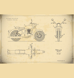 blueprint of retro motorcycle in outline style vector image