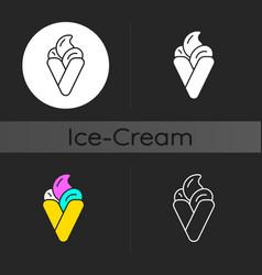 bubble waffle ice cream dark theme icon vector image