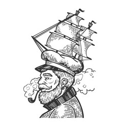 Captain with sailing ship cap vector