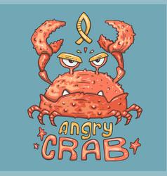 Cartoon angry crab vector