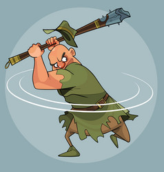 Cartoon man in medieval clothes swings a mace vector