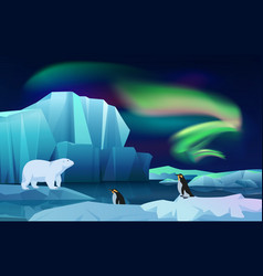 cartoon nature winter arctic ice landscape vector image
