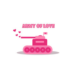 Cartoon pink tank from army of love vector