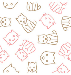 cat and dog outline seamless pattern vector image