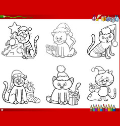 cats on christmas set coloring book vector image