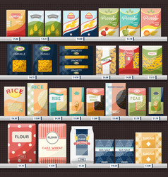 cereals and spaghetti oatmeal at shop showcase vector image